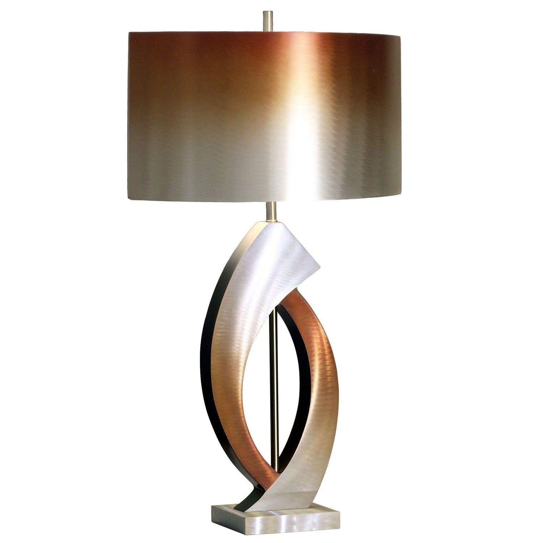 Nova Lighting Swerve Table Lamp Rust Bronze Aluminum Silver