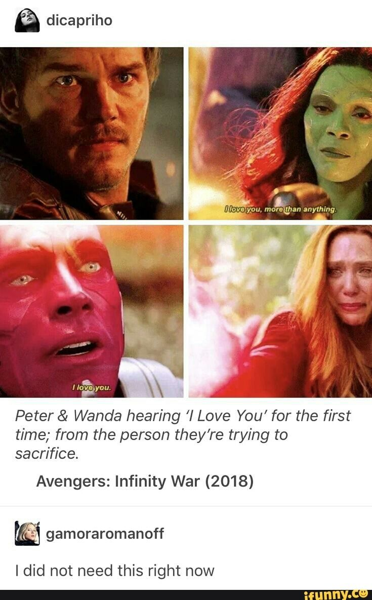 Peter & Wanda hearing I Love You for the first time; from the person theyre trying to sacrifice. Avengers: Infinity War (2018) right – iFunny :)