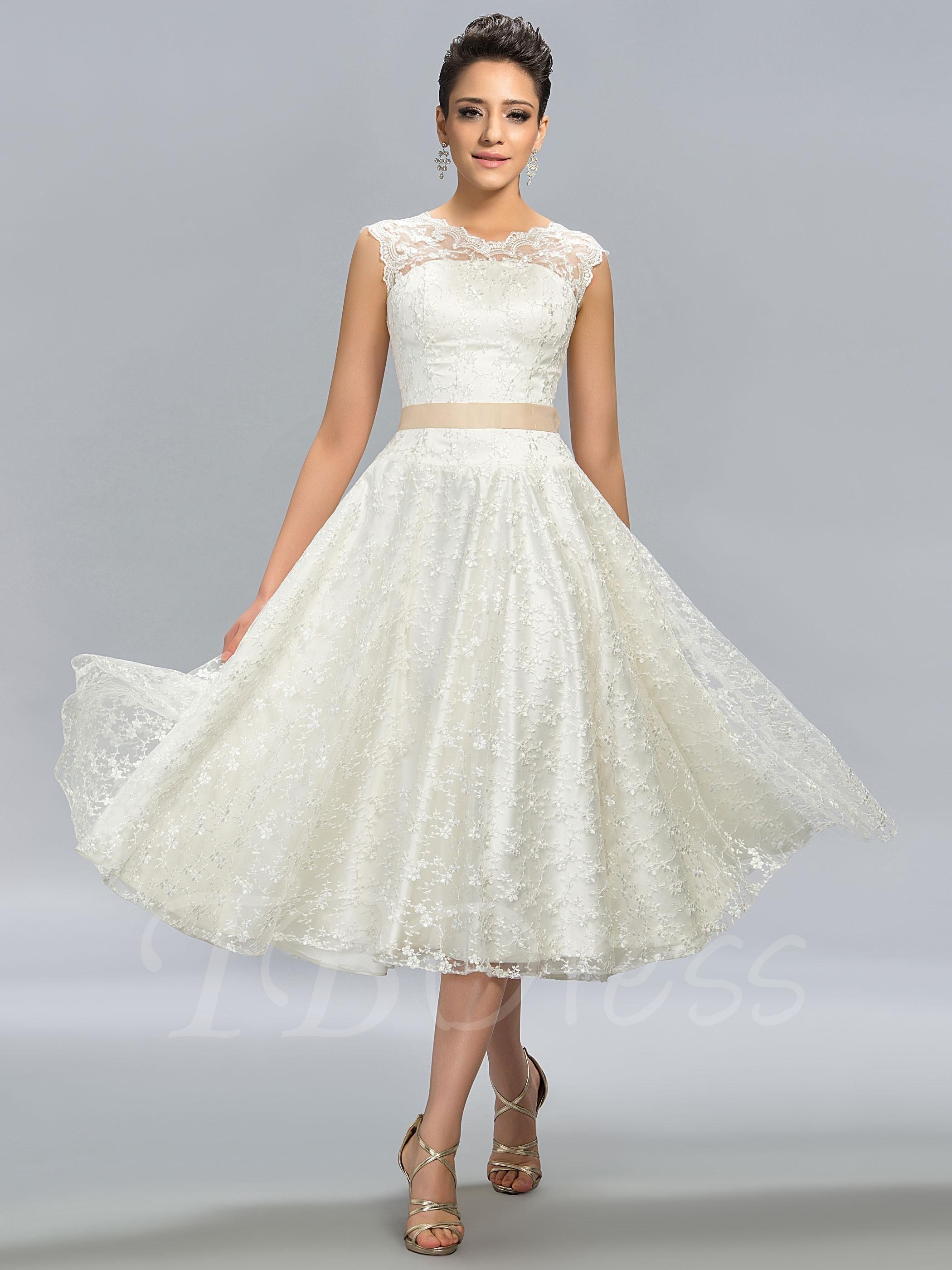 Aline jewel neck lace tealength junior prom dress tea length