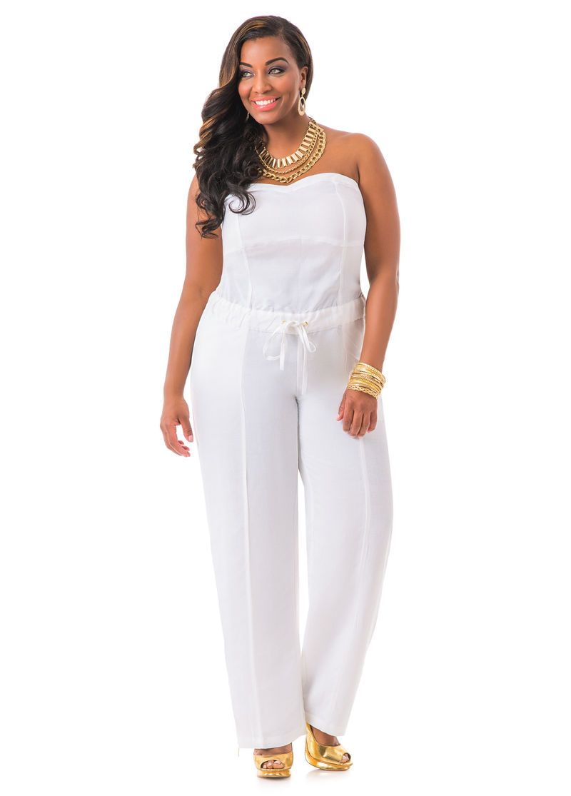 Strapless Linen Jumpsuit Ashley Stewart Ashley Stewart