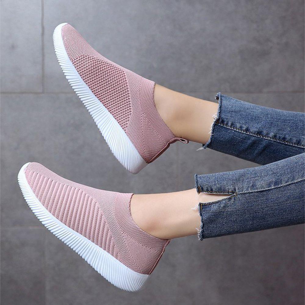 Tallas Grandes Que Caminan Con Malla De Aire Transpirable Punto De Deslizamiento En Zap Zapatos Bajos De Moda Zapatos Tenis Para Mujer Zapatos Deportivos Mujer