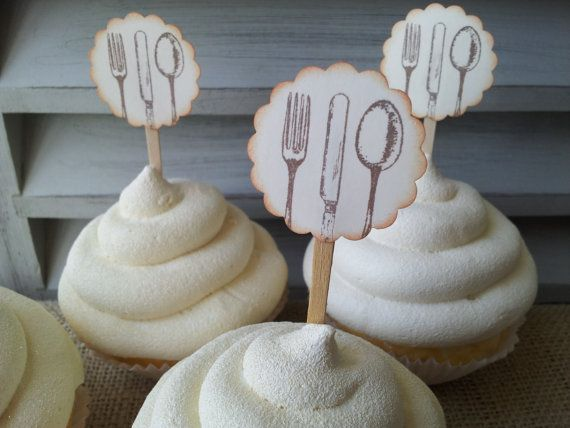 Cupcake Toppers Silverware Wedding Tea Party by LazyDayCottage