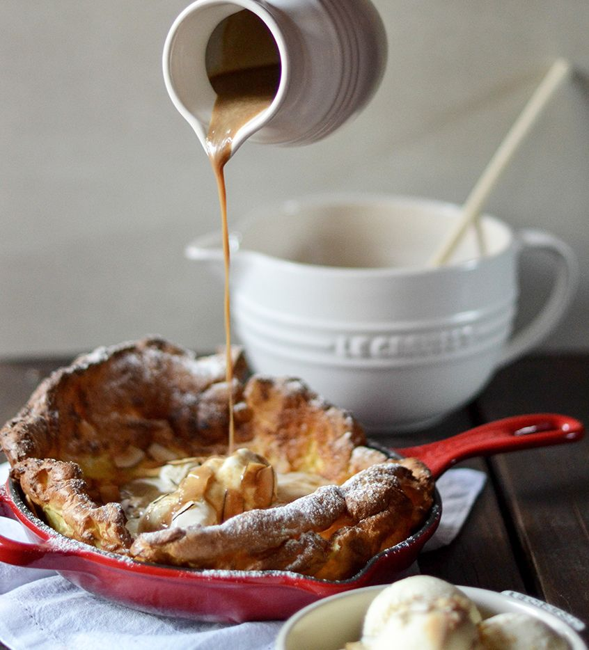 Dutch Baby with Salted Caramel Sauce | Le creuset recipes ...
