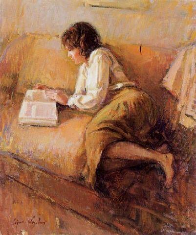 Moça lendo, s/d Ricardo Cejudo Nogales (Espanha, 1952) óleo sobre tela, 55 x 45 cm