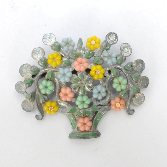 1930's Flower Basket Brooch Pot Metal Pin by LaBellaB on Etsy, $10.00