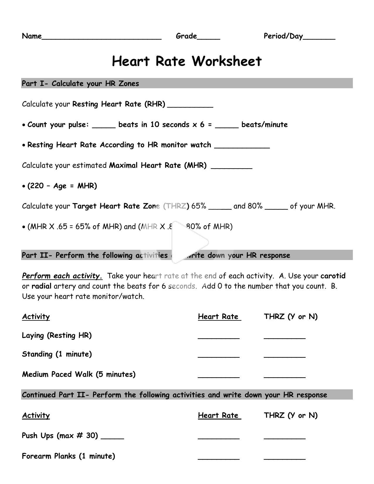 Heart Rate Activity Worksheet