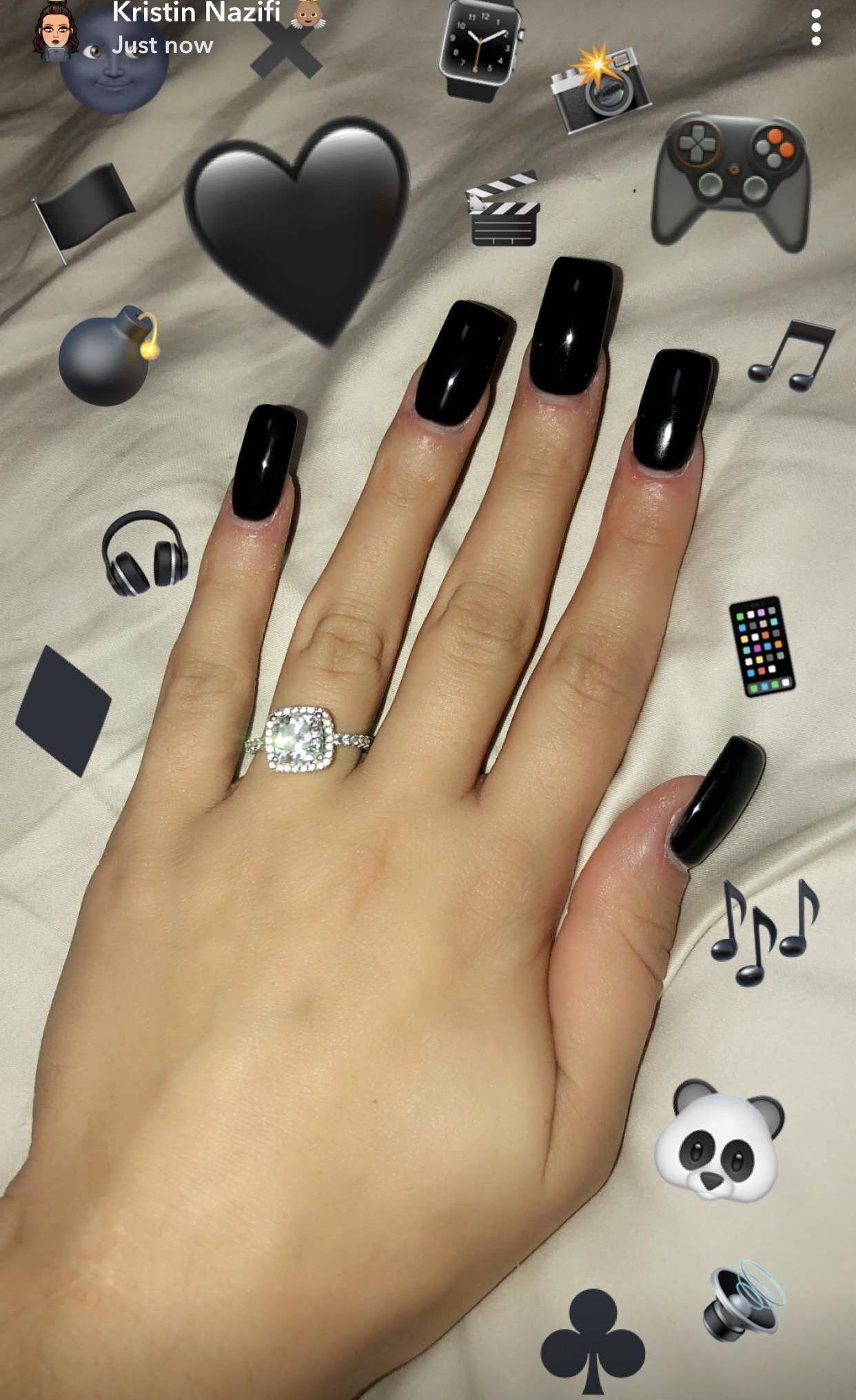 Acrylic Nail Art Gold Ring Finger Howlongdoacrylicnailslast Black Acrylic Nails Square Acrylic Nails Diy Acrylic Nails