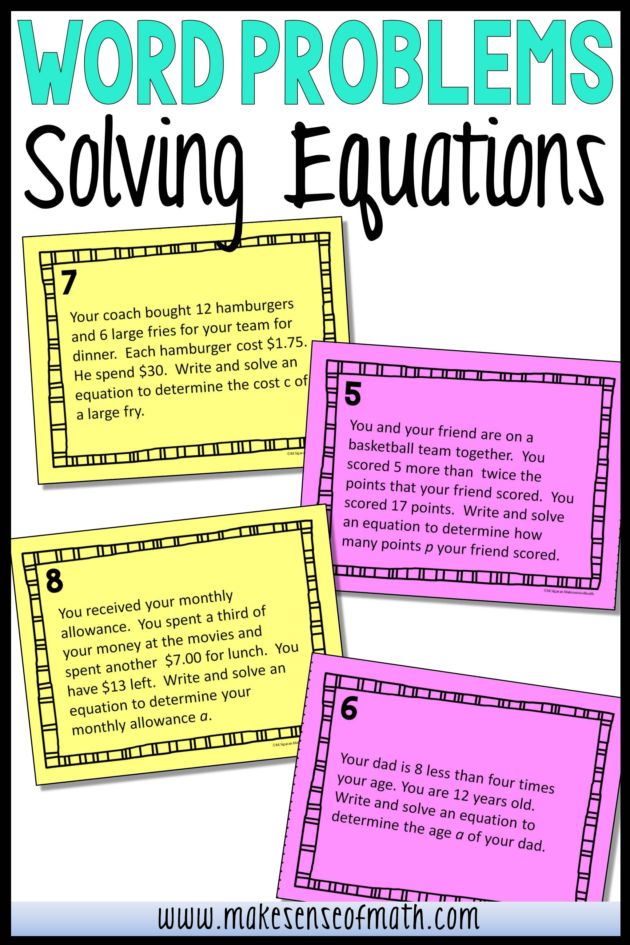 small resolution of Solving Equations Word Problems   Word problems