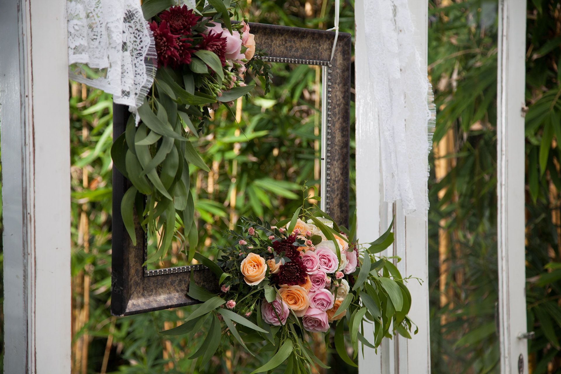Frame adorned with Fresh Flower & Foliage | The Glass House by ...