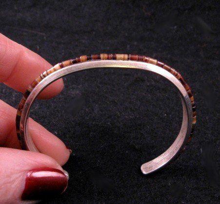 Old Vintage Native American Sterling Silver Heishi Cuff Bracelet