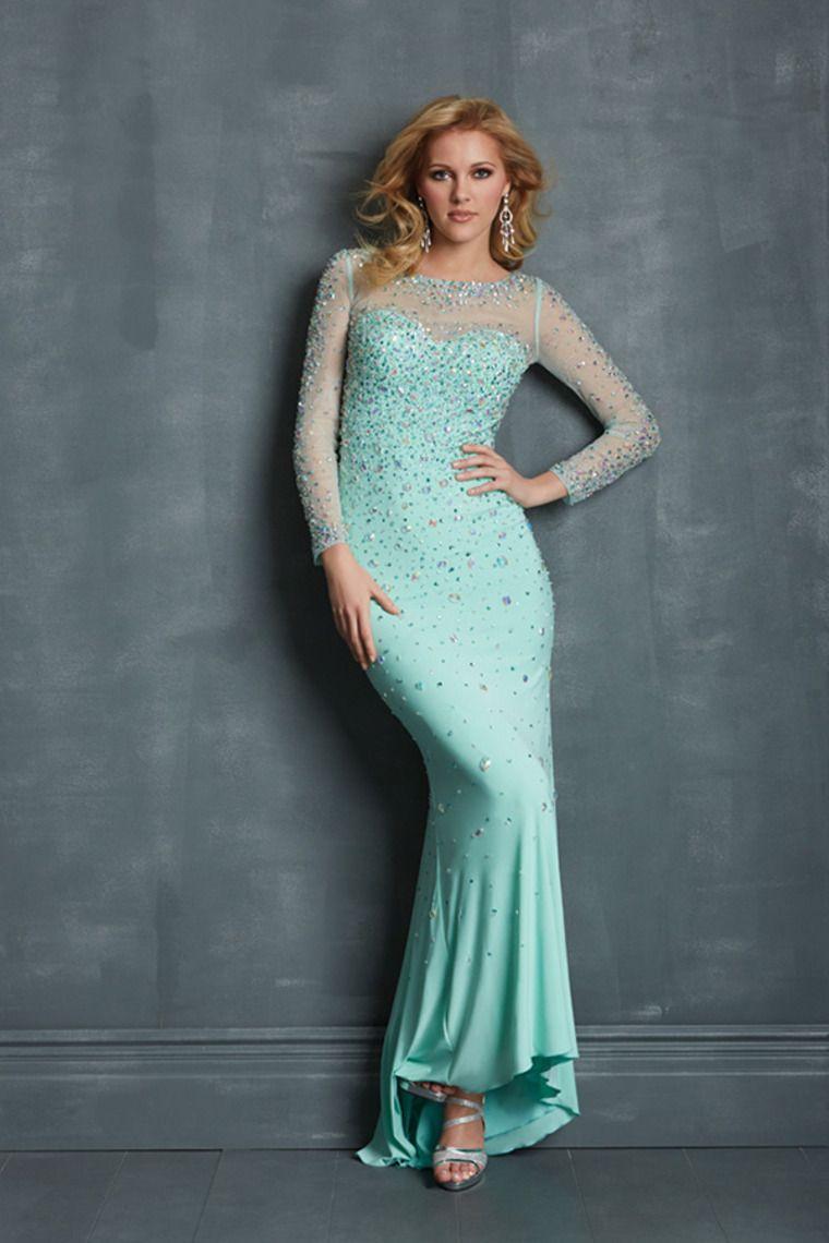 2014 Scoop Neckline Full Sleeves Rhinestone Beaded Bodice Mermaid ...