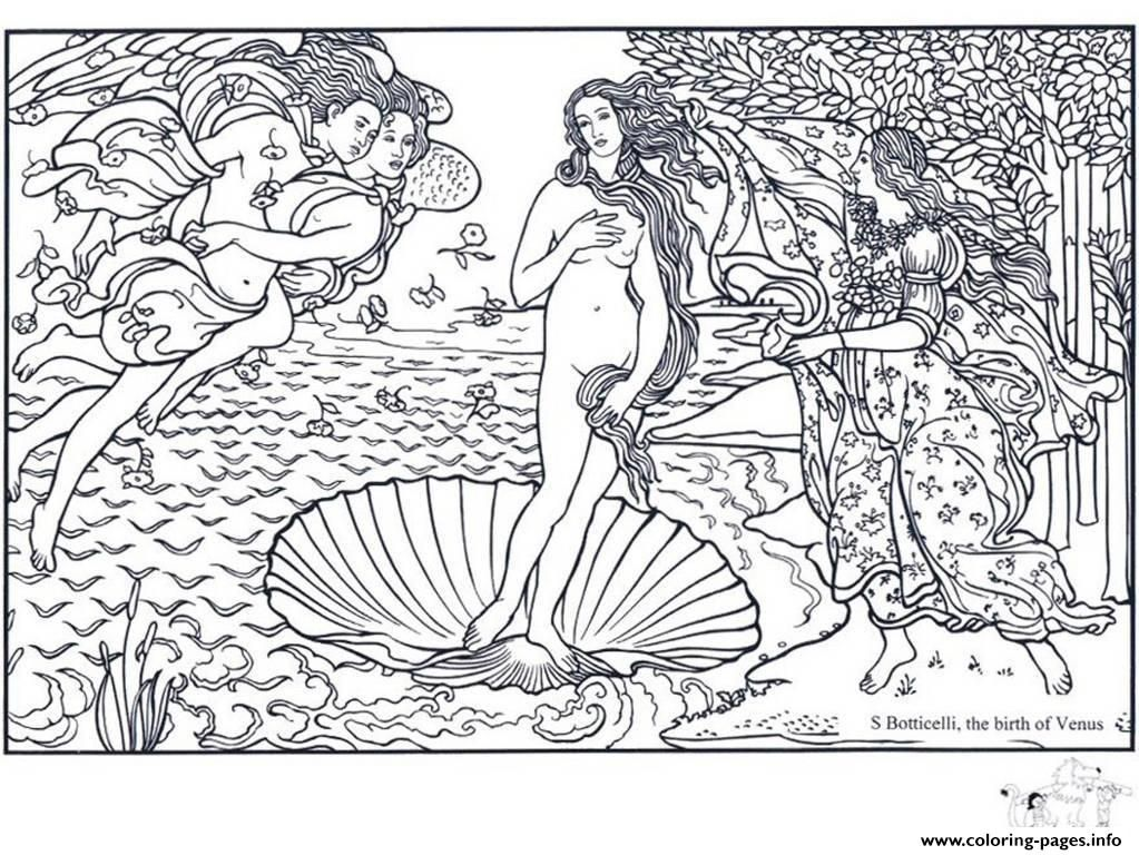 adult boticelli the birth of venus coloring pages printable and coloring book to print for free find more coloring pages online for kids and adults of - Mona Lisa Coloring Page Printable
