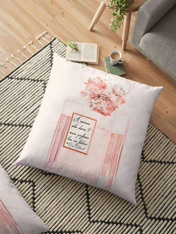 #PerfumeQuote #ChanelhomeDecor Coco Chanel Quote Pillow Blush Pink Posh Pillow Cover