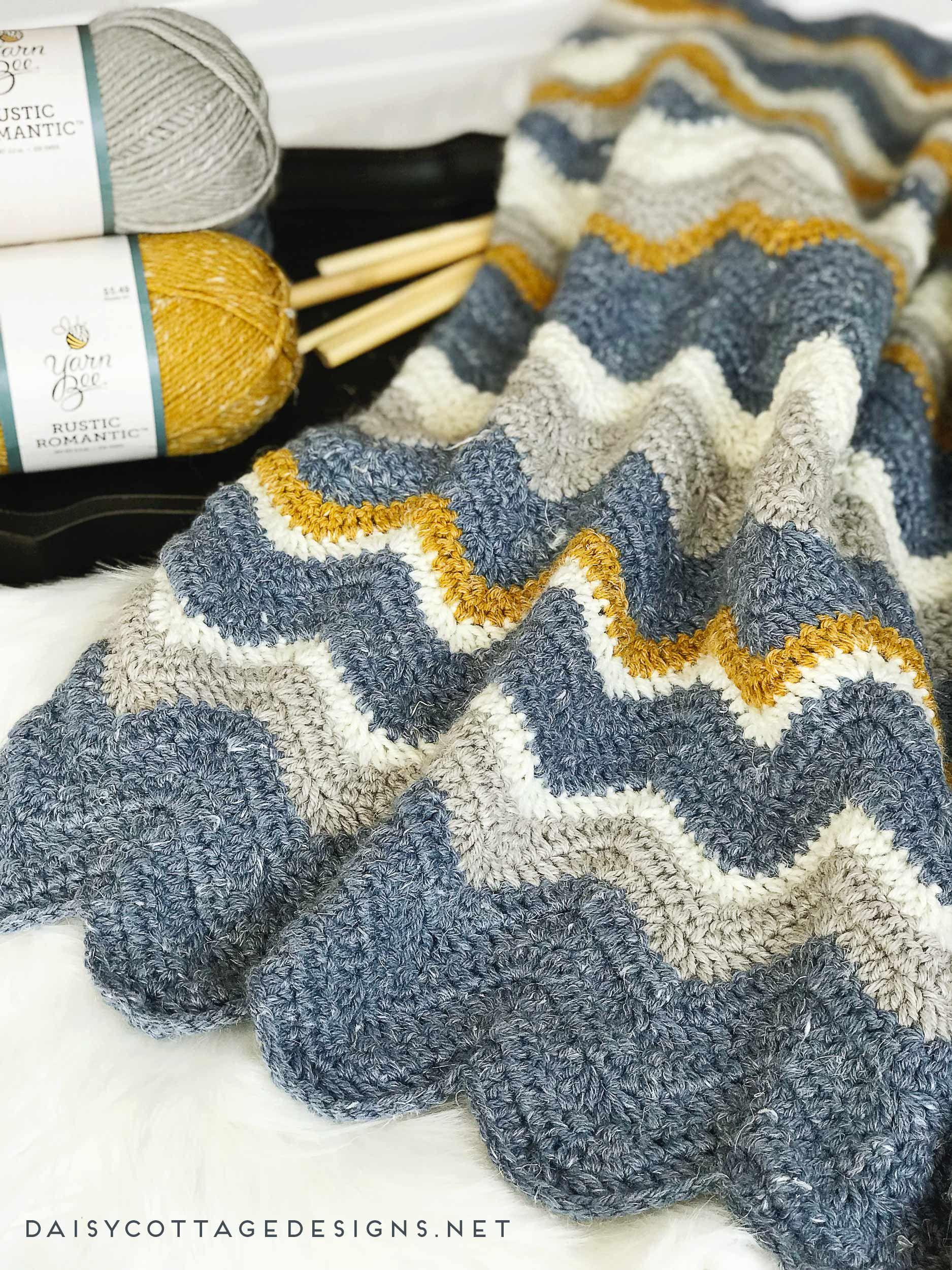 Pretty Chevron Blanket Crochet Pattern | Strick, Häkeln und Stricken
