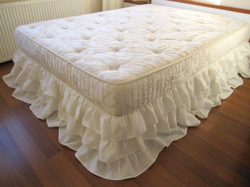 Queen King Linen 3 Tier Ruffle Bed Skirt Dust Ruffle Shabby Etsy Bedskirt Shabby Chic Bedding Ruffle Bedding