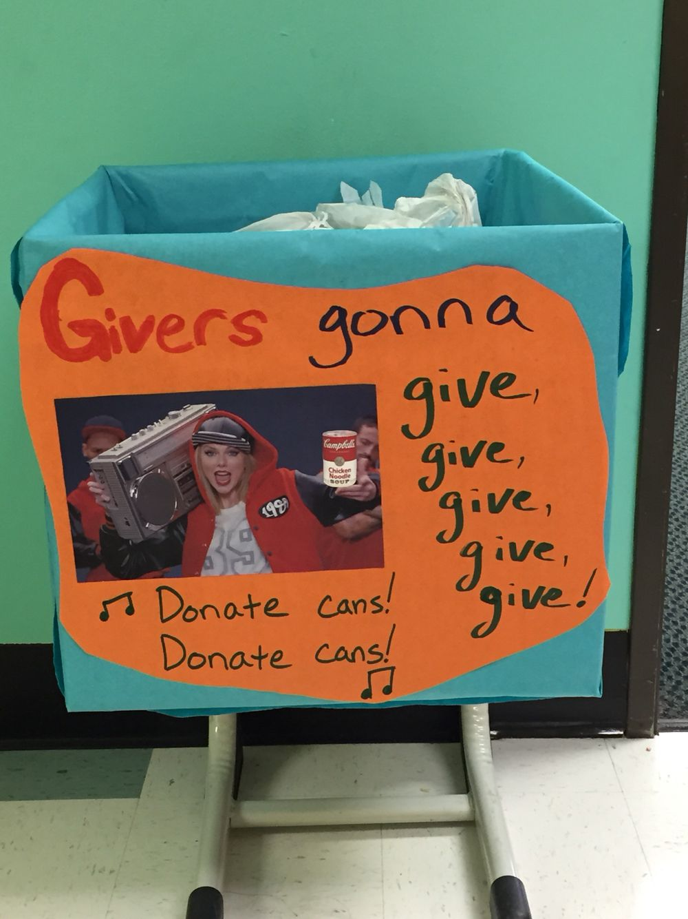Mr. B's submission for the school's food drive box