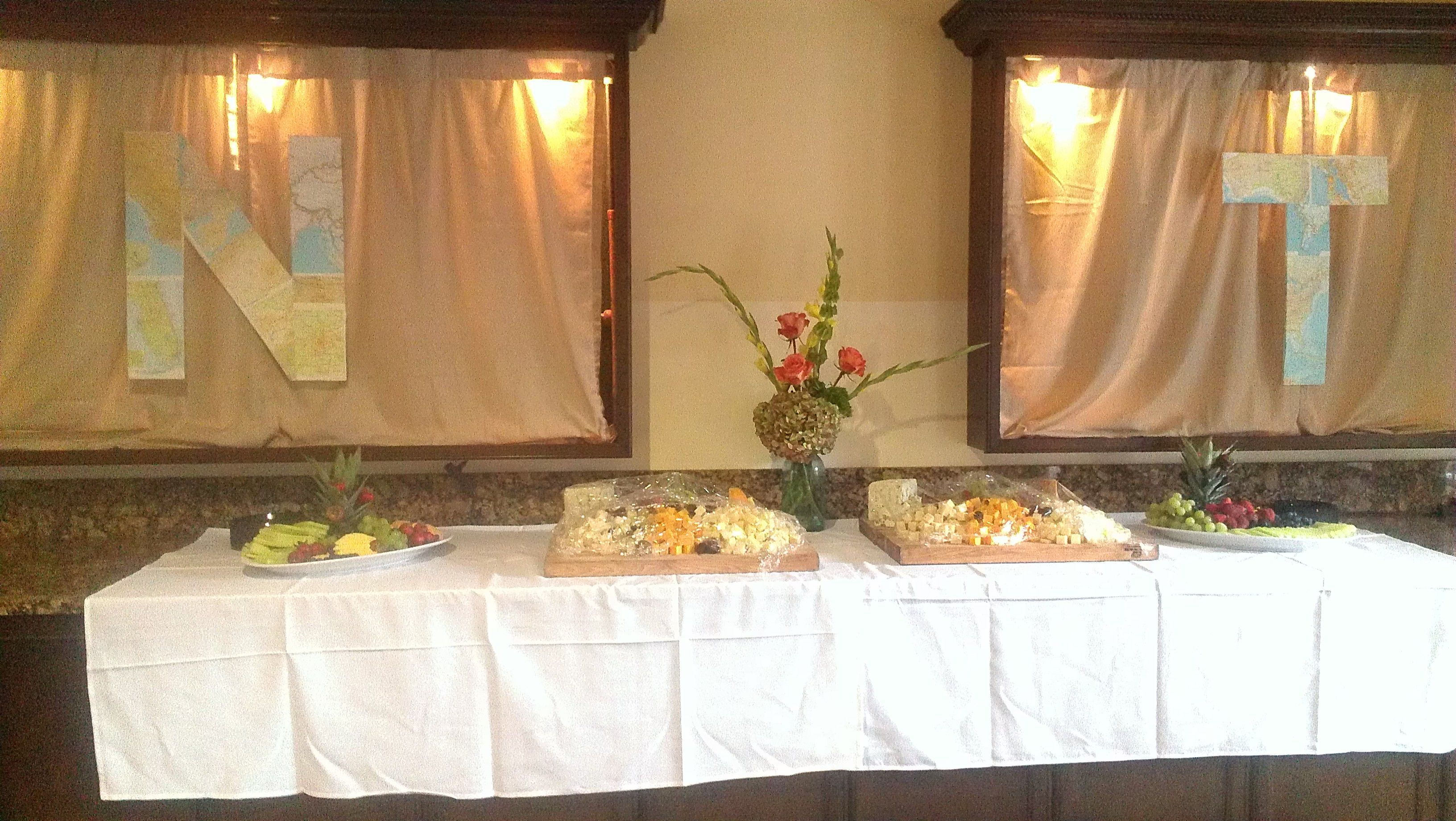 catering by Bliss Restaurant & Lounge for July Wedding Reception at The Inlet Sports Lodge, Murrells Inlet SC. map theme idea by East West Vintage Events in Asheville, NC.