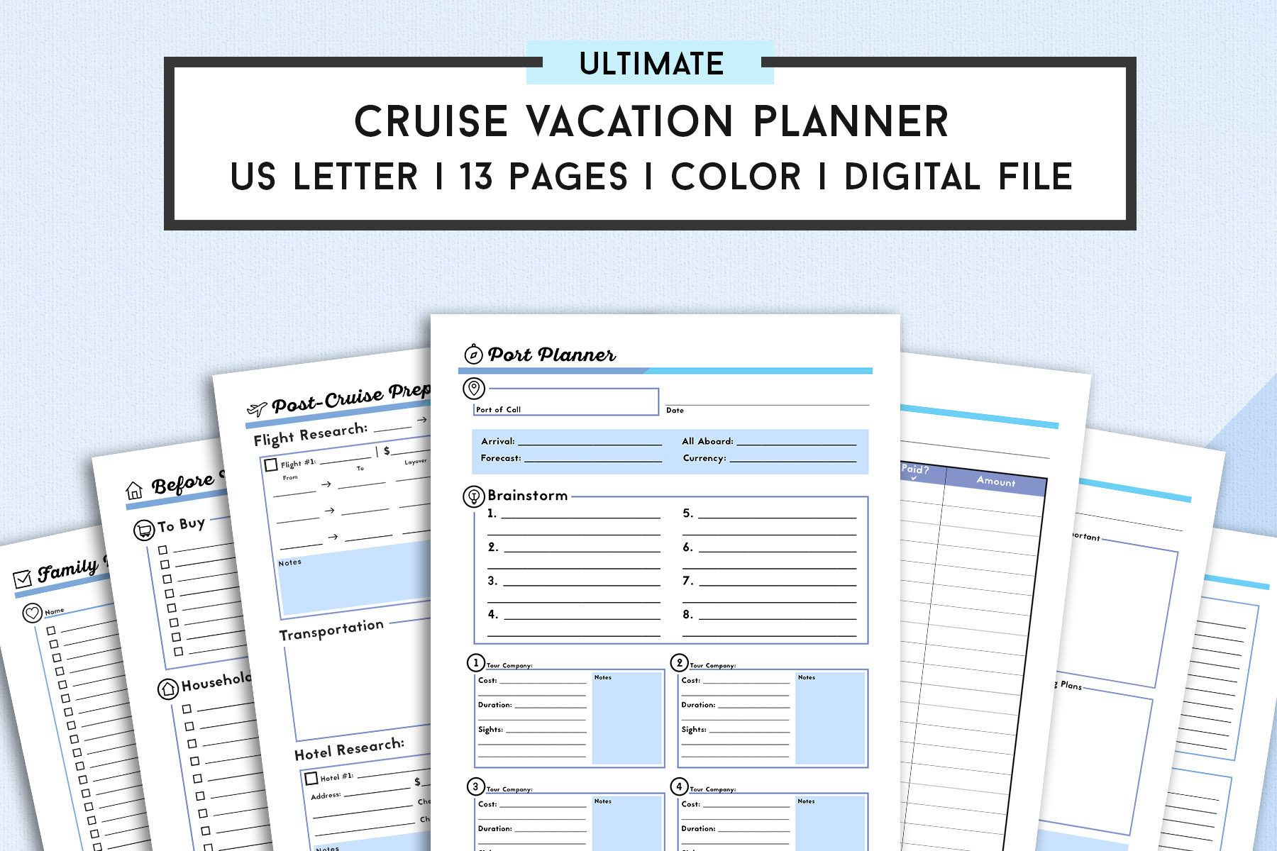 Letter Cruise Planner Travel Agenda  Cruise Itinerary Template