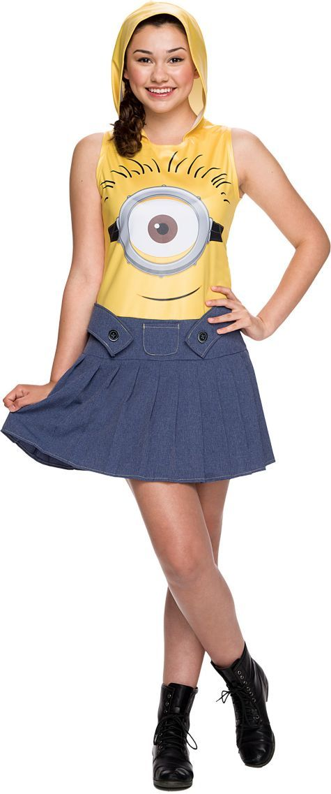 Teen Girls Hooded Minion Costume - Minions Movie - Party City ...