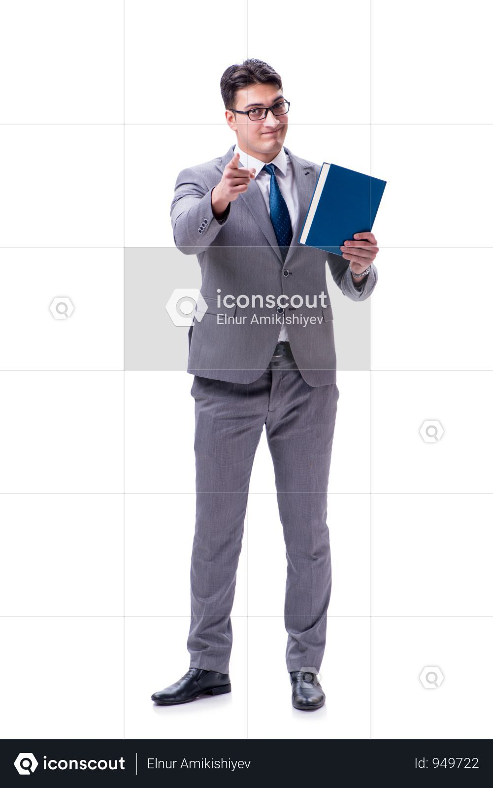 Businessman Student Reading A Book Isolated On White