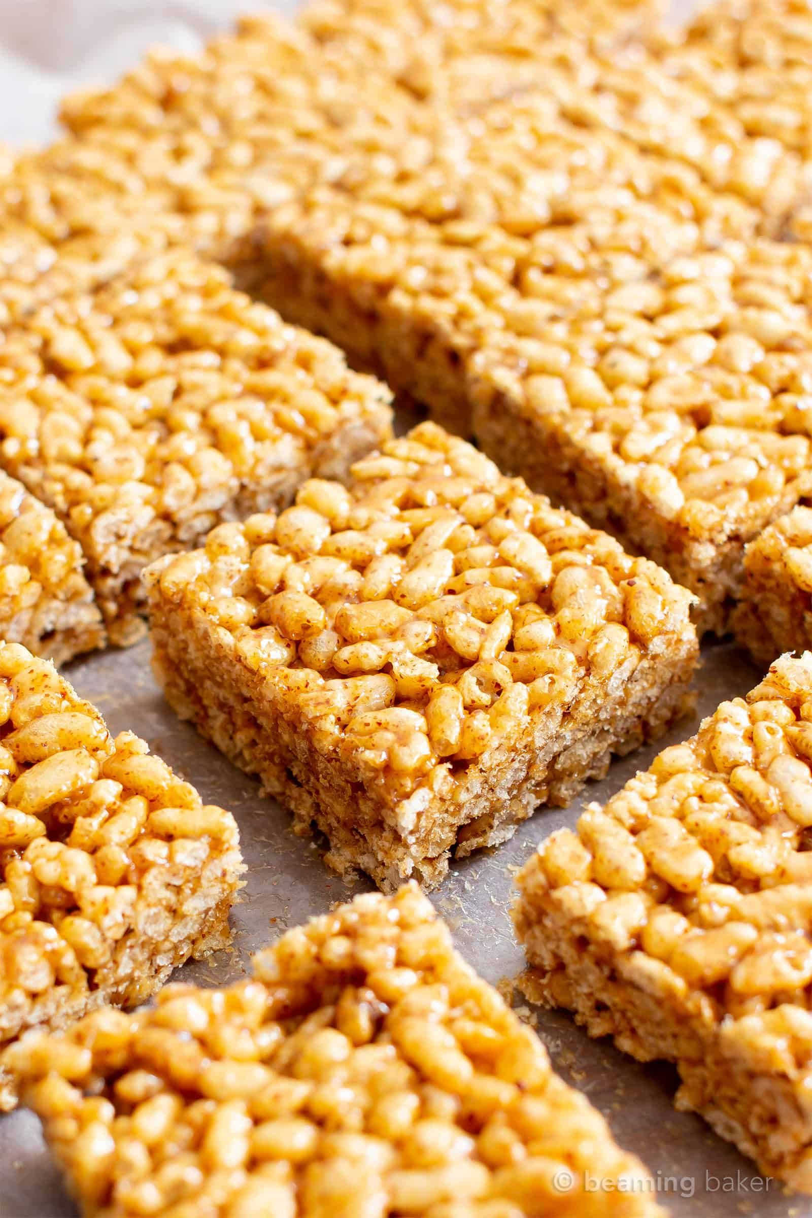 3 Ingredient Healthy Vegan Rice Crispy Treats (V, GF): a chewy homemade vegan rice krispy treats recipe, made with whole, gluten-free, protein-rich ingredients. #RiceCrispyTreats #ProteinPacked #Vegan #GlutenFree #CleanEating #Snacks #HealthySnacks | Recipe at BeamingBaker.com #crispytreats