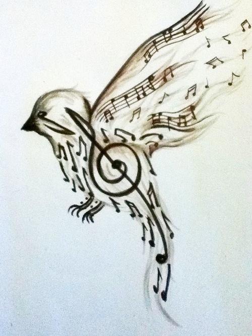 #bird #tattoo #design 음표로 새를 형상화