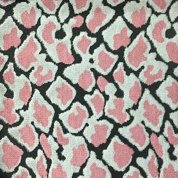 Velvet Upholstery Fabric - Hendrix - Coral - Leopard Print Cut Velvet Home Decor Upholstery Fabric b #velvetupholsteryfabric