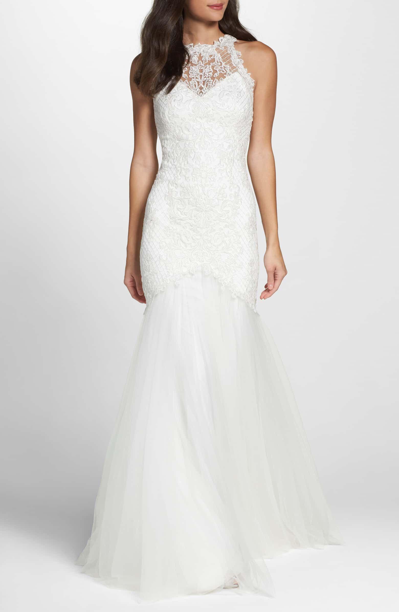 Tadashi Shoji Lace Halter Mermaid Wedding Dress Nordstrom Petite Wedding Dress Wedding Dresses For Petite Women Halter Mermaid Wedding Dress [ 2392 x 1560 Pixel ]