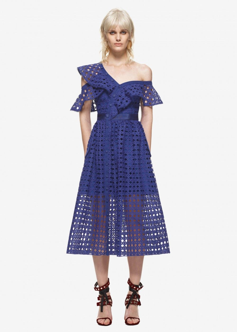 6fd977d06de4 self portrait guipure frill dress cobalt blue #beauty #women #womenfashion  #blackfriday #blackfriday2017 #gifts #dress #thanksgiving