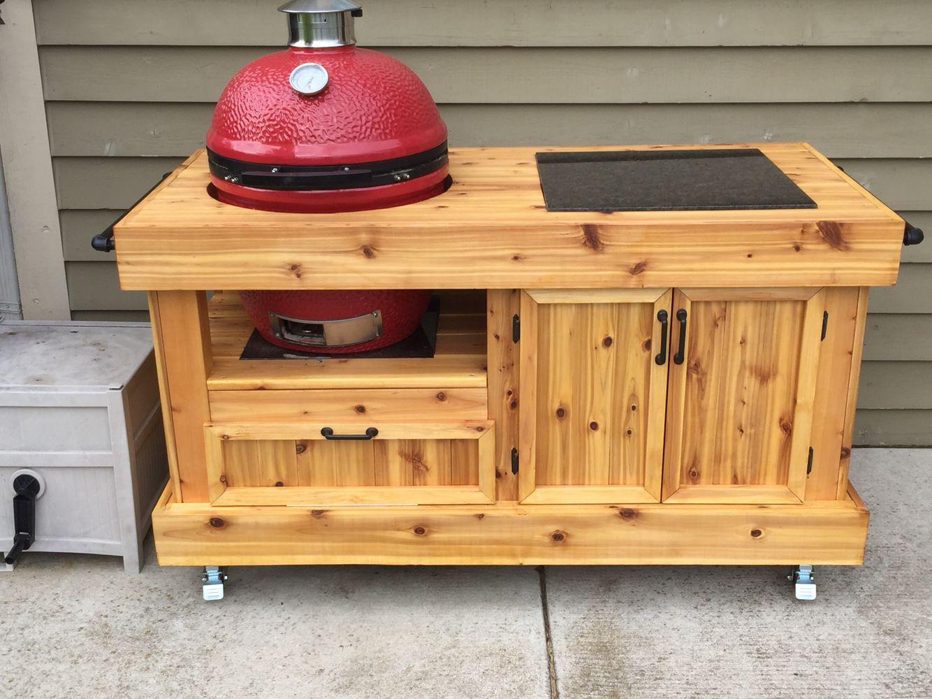 Grill Cart For Komado Joe Built From 100 Cedar Bbq Table Kamado Grill Table Kamado Joe Table Plans