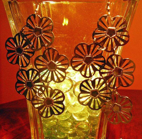 Dark pewter color metal flower dangle earrings 4 by fromlilou2you, $18.00