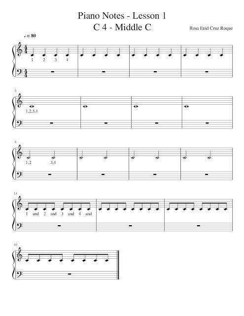 Rosa Enid Cruz Roque: Piano Notes - Lesson 1 - C4