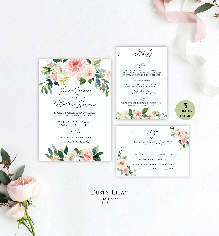 Editable Blush Pink Floral Wedding Invitation Suite Template Etsy In 2020 Floral Wedding Invitations Floral Wedding Invitation Suite Wedding Invitations