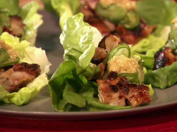 Get Grilled Chicken Lettuce Wraps with Sesame Miso Sauce Recipe from Food Network