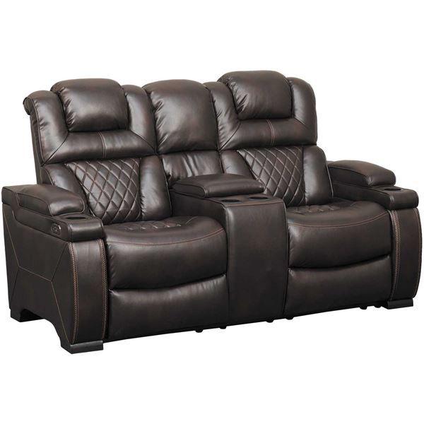 Warnerton Power Reclining Console Loveseat With Adjustable Headrest Power Reclining Sofa Power Recliners Love Seat