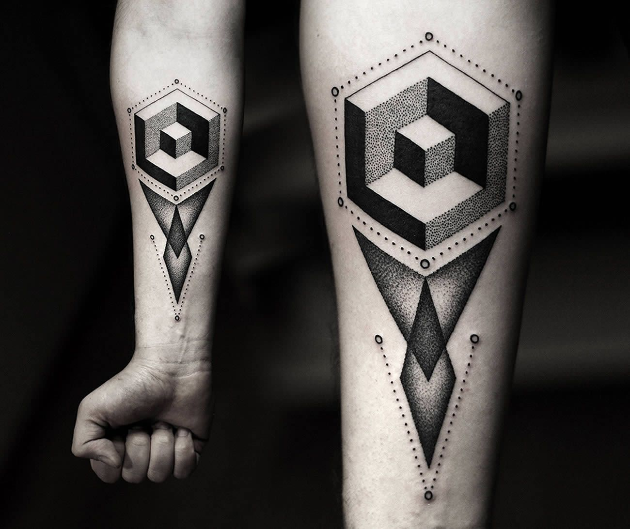 3D Geometric Shapes Tattoo