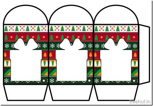 christmas lantern template printable  Colored Printable Christmas Present Paper Lantern Template ...