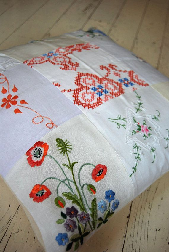 vintage embroidery cushion - gorgeous!