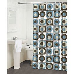 Overstock - This Vintage Squares Blue shower curtain by Famous Home ...