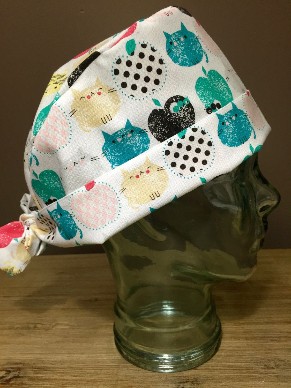 Apple Cats Surgical Scrub Hat, Adorable Women\'s Animal Pixie Scrub ...