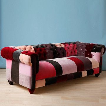 Classic With A Twist And A Wink Deep Dark Colours And Luxurious Materials Slight Boho Feel Chesterfield Patchwork So Patchwork Sofa Patchwork Furniture Sofa