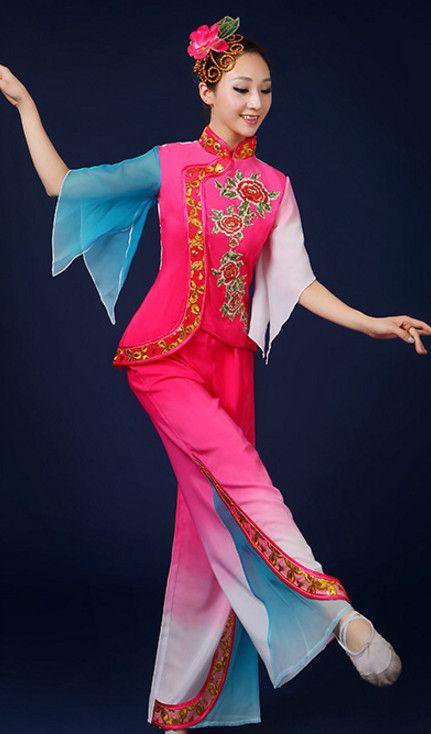 87475e2f0 Asian Fan Dance Costume Hand Held Fan Chinese Dancing Ethnic Dance Folk  Oriental Dancewear for Women Girls