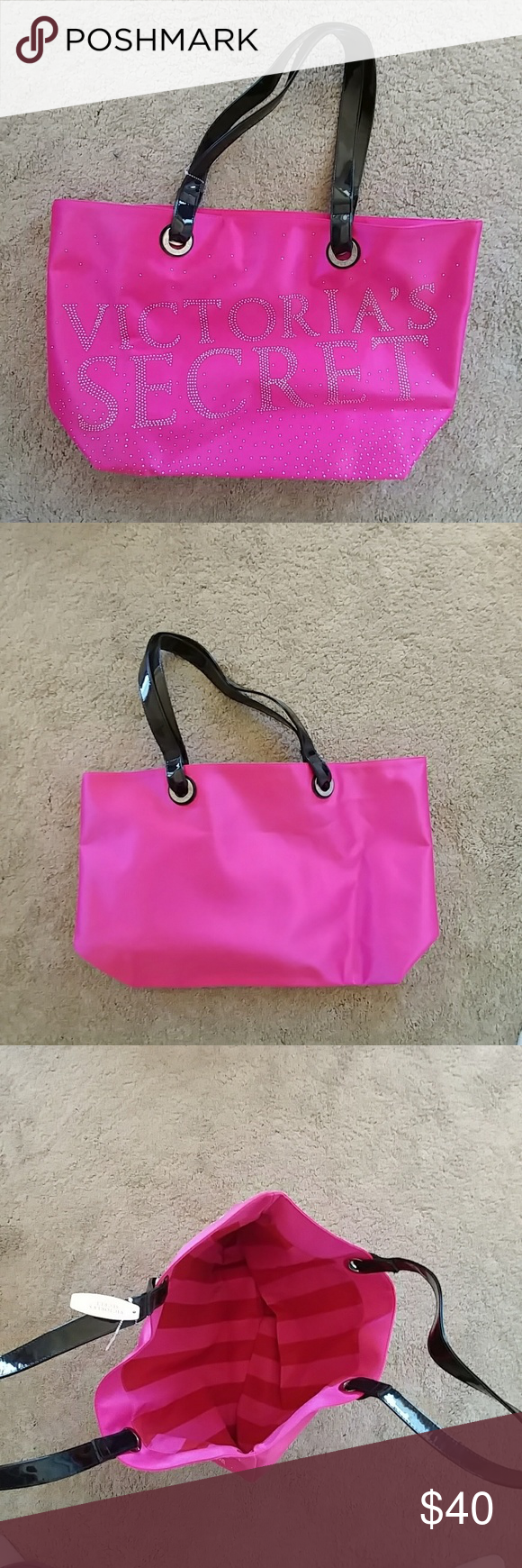 VS tote bag Pink, glittery, and amazing!  Black, built to last straps.  Studded Victoria's Secret on the outside.  Red and Pink stripes on the inside Victoria's Secret Bags Totes