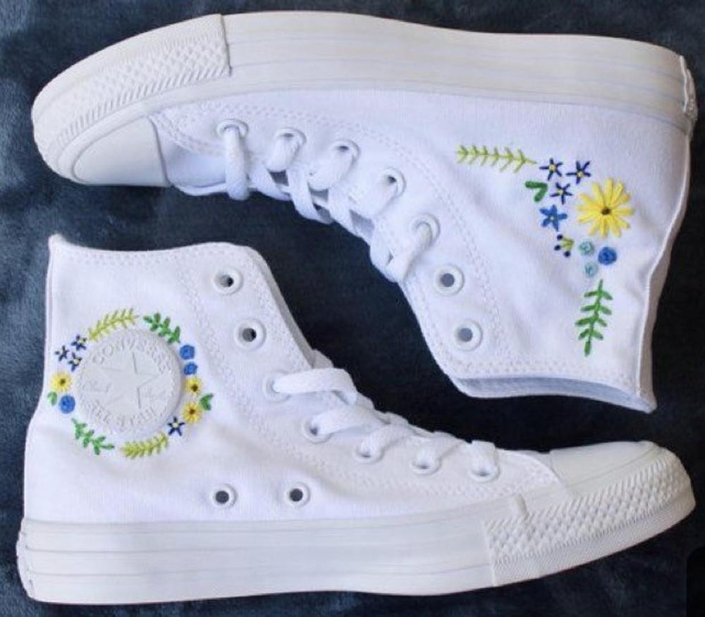 Converse haut brodé floral en 2020 | Converse, Chaussures