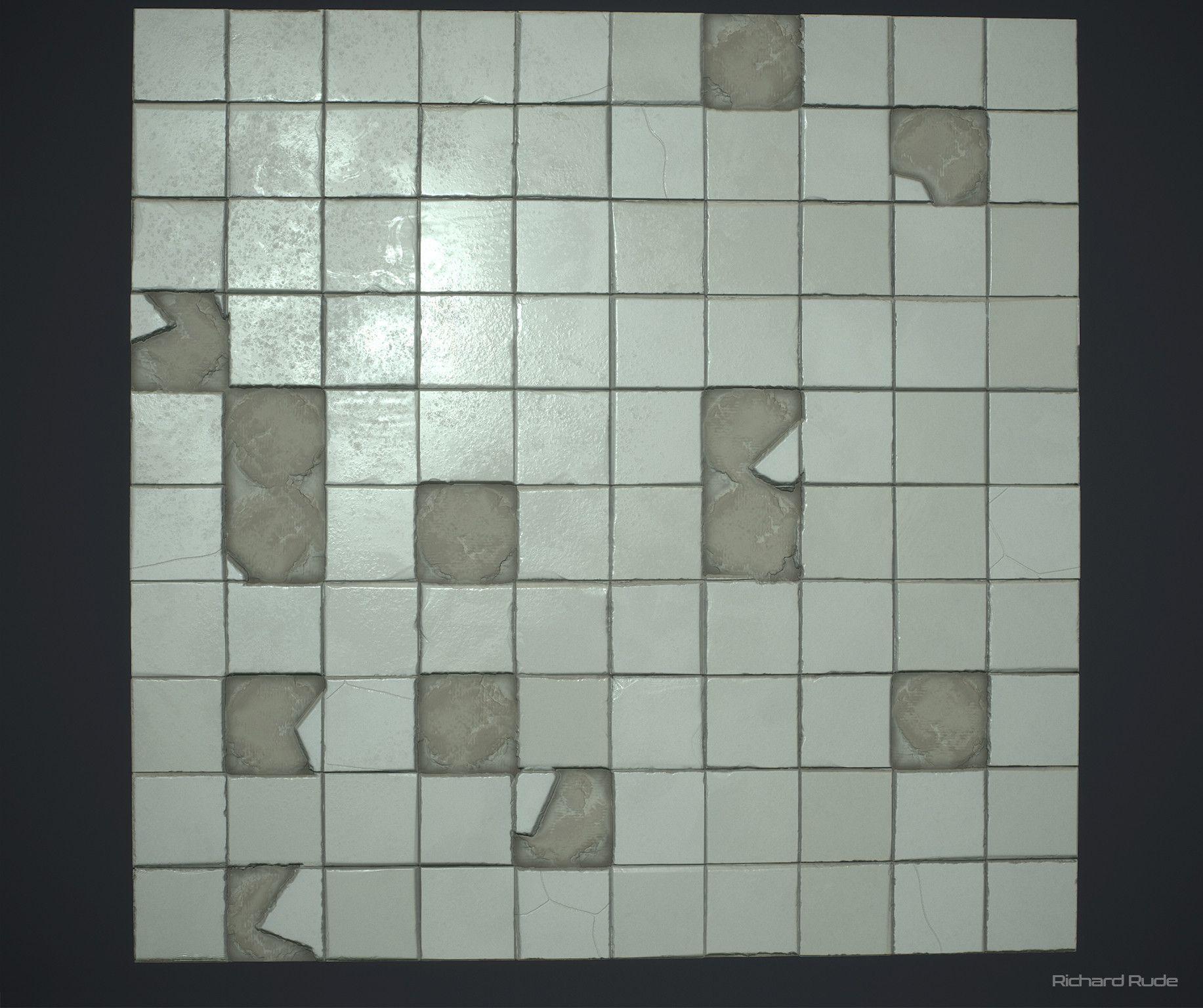 Artstation Broken Tiles Richard Rude Texturesmaterials