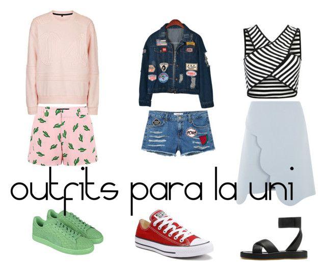 uni outfits by paula-velasco-rodriguez on Polyvore featuring moda, Topshop, Chicnova Fashion, Carven, American Retro, MANGO, rag & bone, Puma and Converse