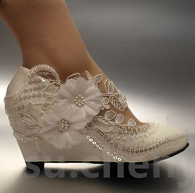 2c55d6e8cd4 Lace white ivory crystal sequin daisy Wedding shoes Bride low wedges size  5-10.5