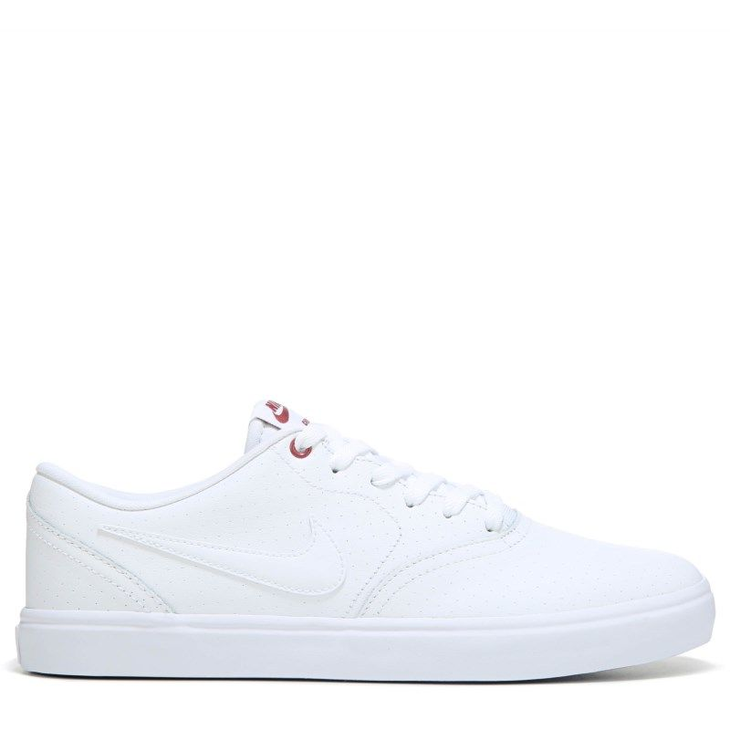 Nike Men's Nike SB Check Solar Leather Skate Shoes (White/White)