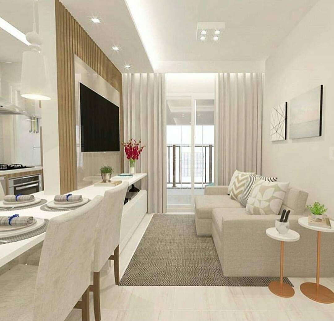 Projeto Lindo E Clean De Uma Sala Com Cozinha Americana Adoro