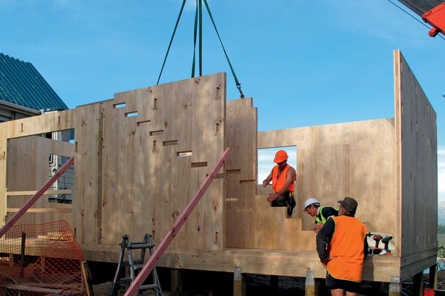 The base structure of the studio is comprised of prefabricated cross laminated timber panels. Routed notches for the staircase and cladding ...